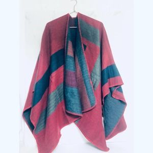 Poncho color block blanket scarf wrap coat knit OS